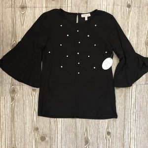 Harlow and Row Black bell sleeve with pearls